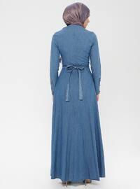 Blue - Crew neck - Unlined - Denim -  - Dress