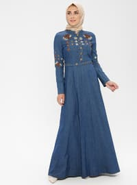 Blue - Polo neck - Unlined - Denim -  - Dress