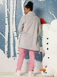 Beige - Gray - Crew neck -  - Pyjama