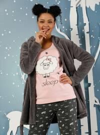 Salmon - Mink - Crew neck -  - Pyjama