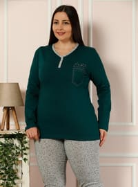 Green - Crew neck - Multi -  - Pyjama