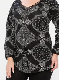 Black - V neck Collar - Multi -  - Pyjama