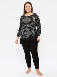 Black - Crew neck - Multi -  - Pyjama