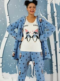 White - Blue - Crew neck - Multi -  - Pyjama