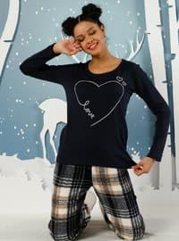 Black - Crew neck -  - Pyjama