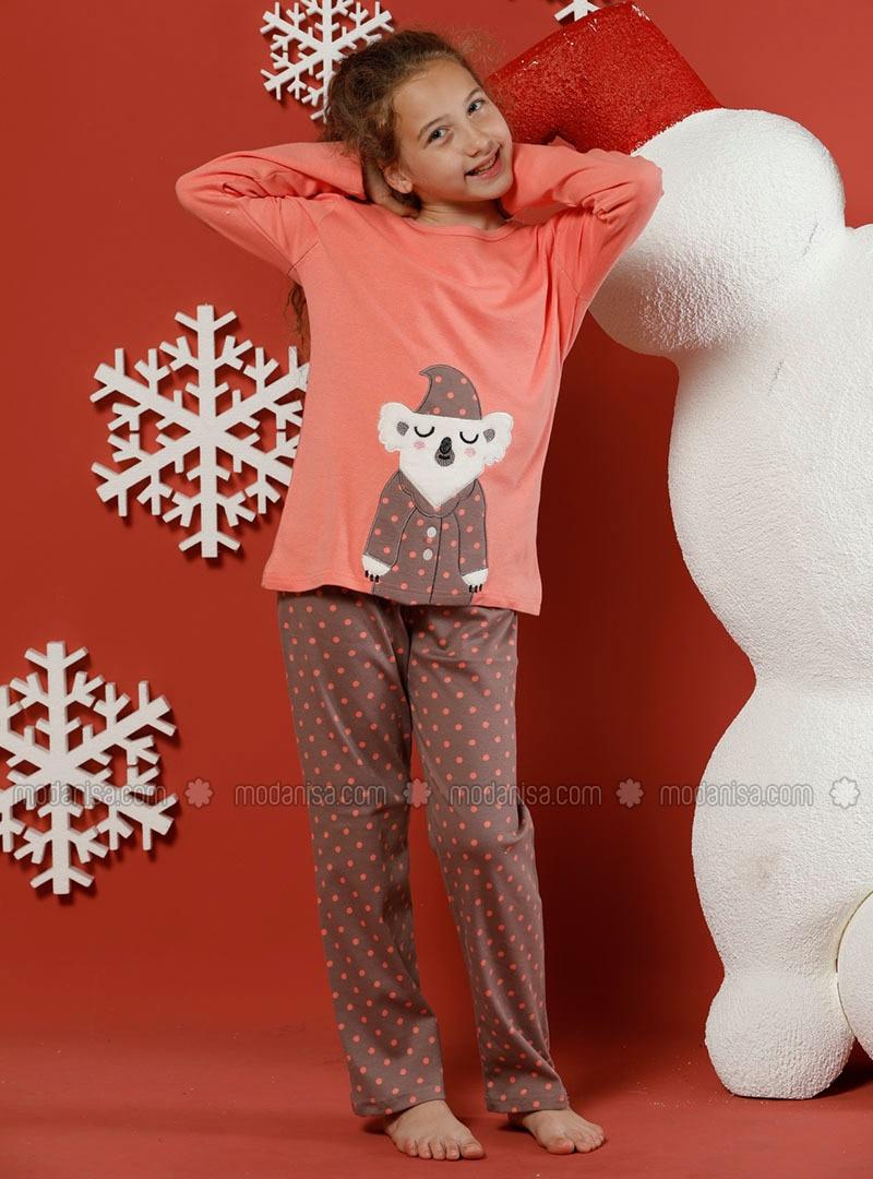 Polka Dot - Crew neck -  - Unlined - Salmon - Girls` Pyjamas