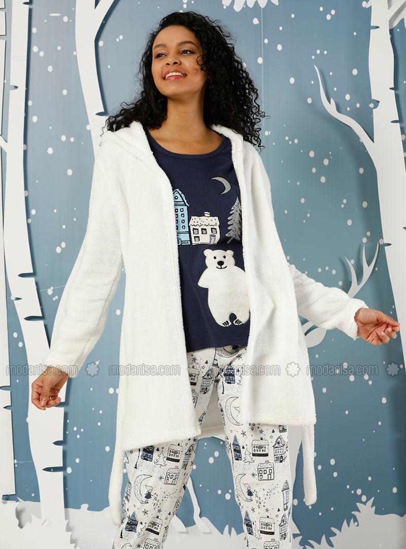 White - Navy Blue - Crew neck -  - Pyjama