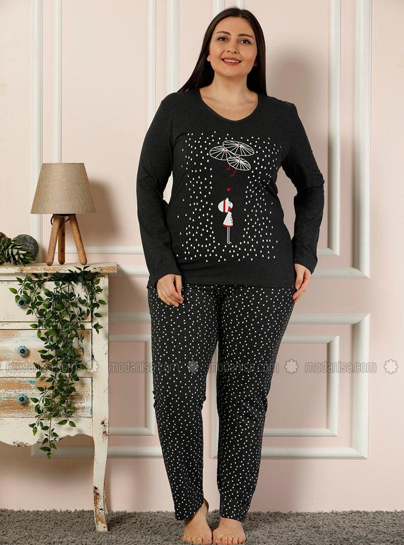 Anthracite - Crew neck - Multi -  - Pyjama