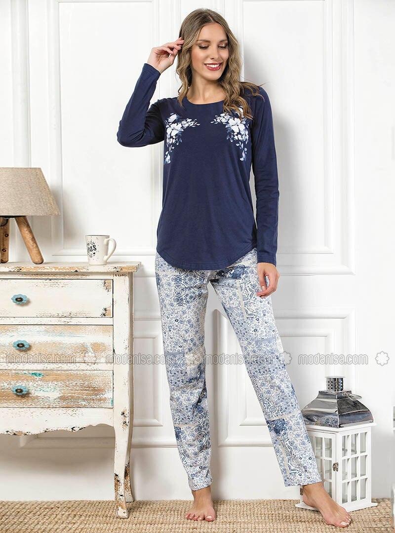 Navy Blue - Crew neck - Multi -  - Pyjama