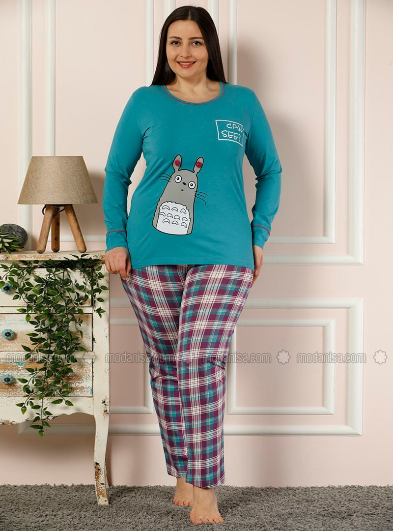 Blue - Crew neck - Multi -  - Pyjama