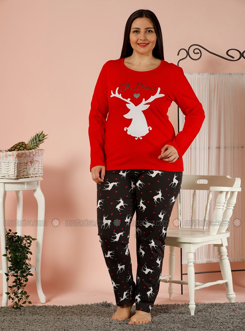 Red - Crew neck - Multi -  - Pyjama