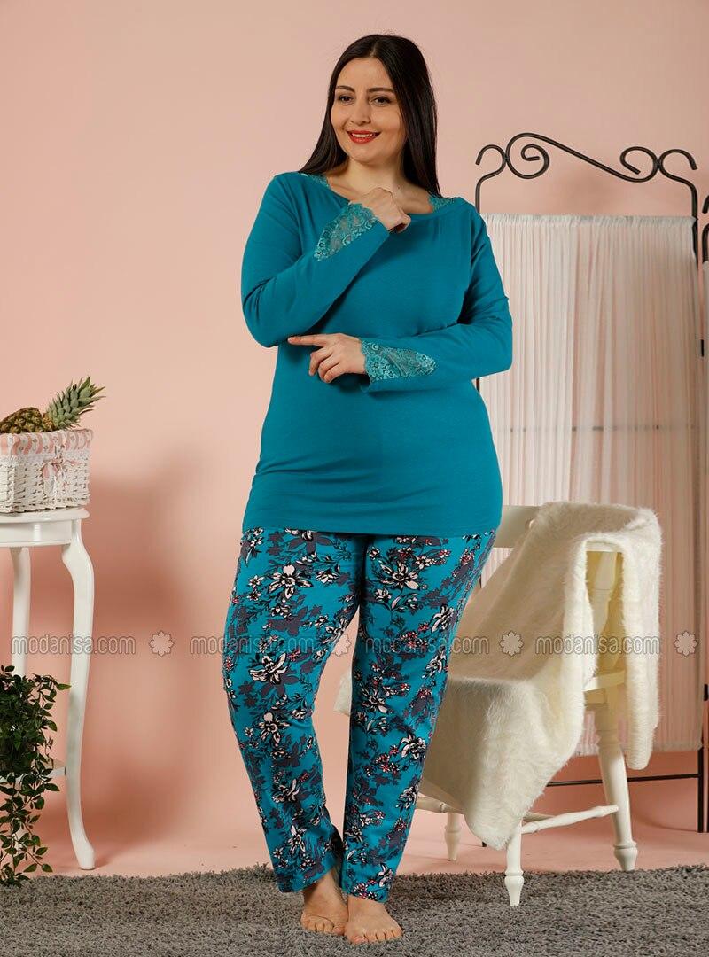 Turquoise - Crew neck - Multi -  - Pyjama