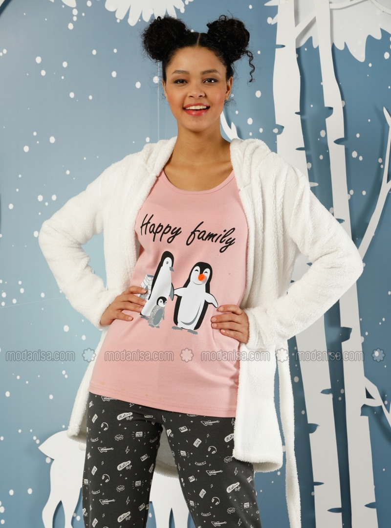 Beige - Salmon - Crew neck -  - Pyjama