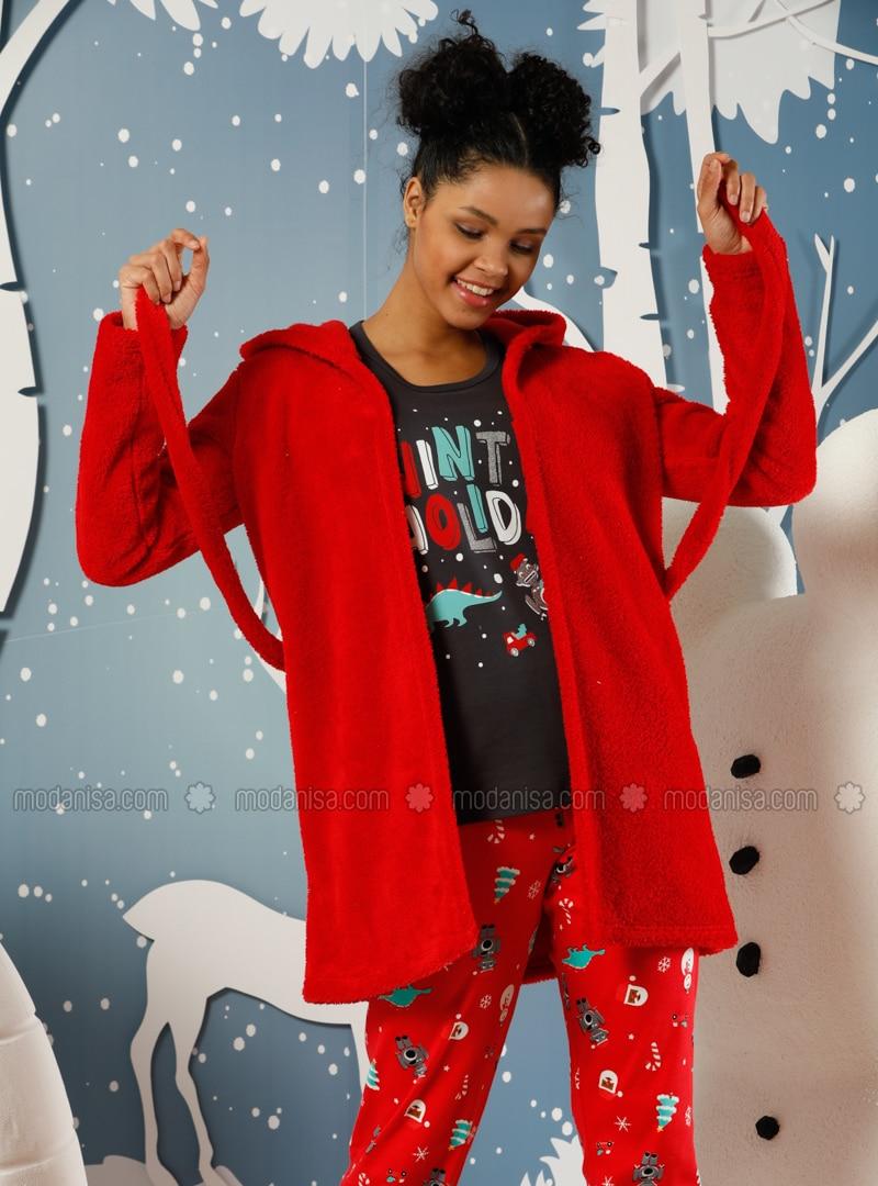 Red - Black - Crew neck -  - Pyjama
