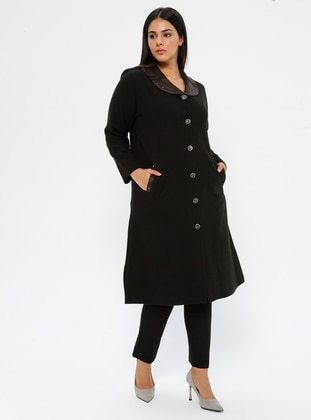 Khaki - Unlined - V neck Collar - Viscose - Plus Size Coat