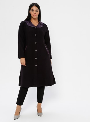 Plum - Unlined - V neck Collar - Viscose - Plus Size Coat