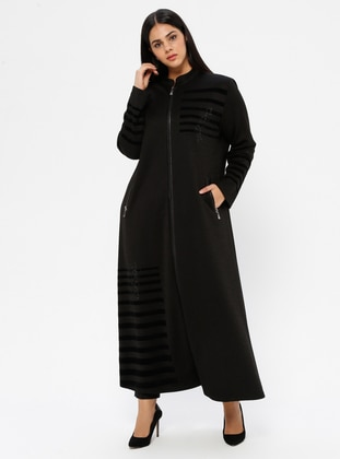 Black - Unlined - V neck Collar - Viscose - Plus Size Coat