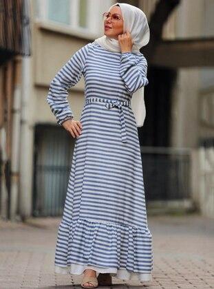 Blue - Stripe - Crew neck -  - Dress