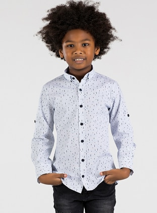 Checkered - Point Collar -  - Unlined - White - Boys` Shirt