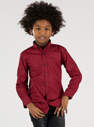 Checkered - Point Collar -  - Unlined - Maroon - Boys` Shirt