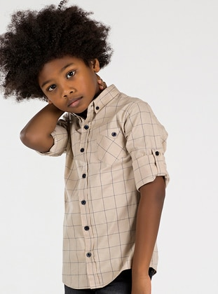Checkered - Point Collar -  - Unlined - Terra Cotta - Boys` Shirt