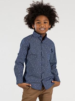 Checkered - Point Collar -  - Unlined - Navy Blue - Boys` Shirt