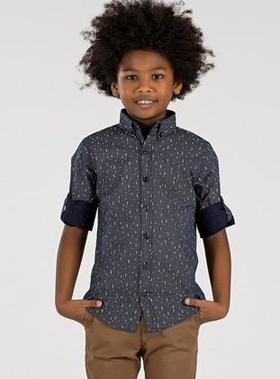 Checkered - Point Collar -  - Unlined - Black - Boys` Shirt