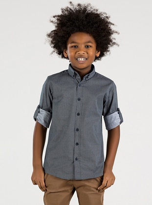Checkered - Point Collar -  - Unlined - Boys` Shirt
