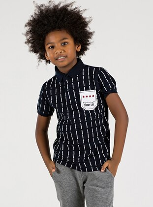 Polo -  - Unlined - Navy Blue - Boys` T-Shirt