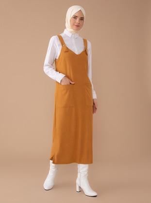 Mustard - V neck Collar - Unlined -  - Dress