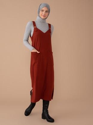 Terra Cotta - V neck Collar - Unlined -  - Dress