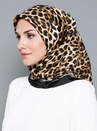 Multi - Leopard - %100 Silk - Satin - Scarf