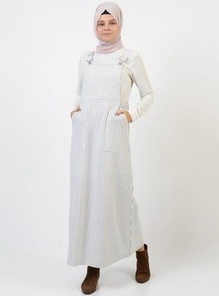 White - Stripe - Sweatheart Neckline - Unlined - Dress