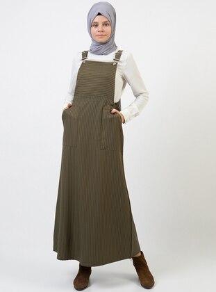 Khaki - Stripe - Sweatheart Neckline - Unlined - Dress