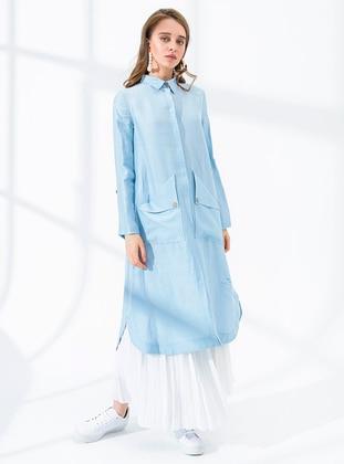 Blue - Unlined - Point Collar - Linen - Topcoat