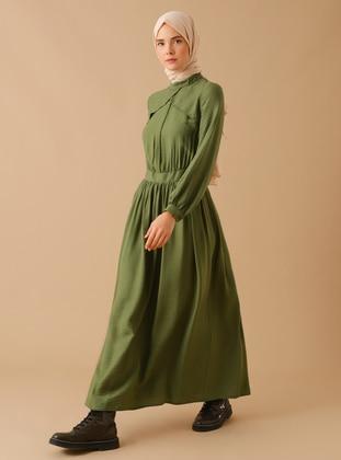 Khaki - Polo neck - Unlined - Nylon - Viscose - Dress