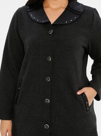 Black - Unlined - V neck Collar - Viscose - Plus Size Coat