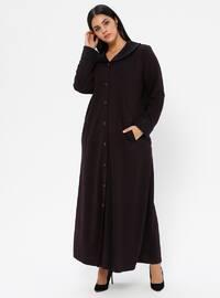 Plum - Unlined - V neck Collar - Viscose - Plus Size Coat