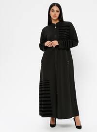 Khaki - Unlined - V neck Collar - Viscose - Plus Size Coat