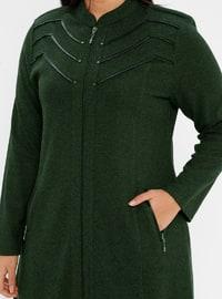 Khaki - Unlined - Crew neck - Viscose - Plus Size Coat
