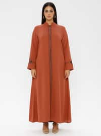 Tan - Crew neck - Unlined - Plus Size Abaya