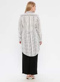 White - Stripe - Point Collar - Viscose - Plus Size Tunic