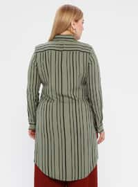 Khaki - Stripe - Point Collar - Viscose - Plus Size Tunic