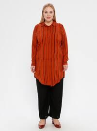 Tan - Stripe - Point Collar - Viscose - Plus Size Tunic