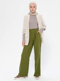 Khaki - Viscose - Pants