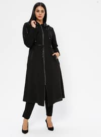 Black - Unlined - Crew neck - Viscose - Plus Size Coat