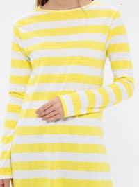 Yellow - Stripe - Crew neck -  - Tunic