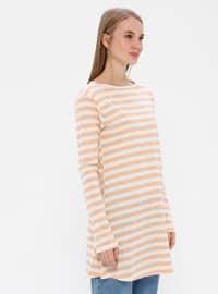 Salmon - Stripe - Crew neck -  - Tunic