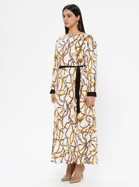 Ecru - Unlined - Crew neck - Viscose - Plus Size Dress