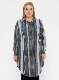 Anthracite - Stripe - Point Collar - Viscose - Plus Size Tunic